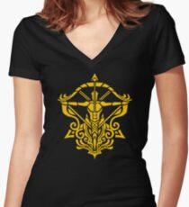 Zodiac Sign Sagitarius Gold Women's Fitted V-Neck T-Shirt