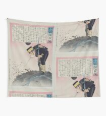 Humorous picture showing a monster on a boat or raft collecting Chinese Buddhist worshippers in a river 002 Wall Tapestry