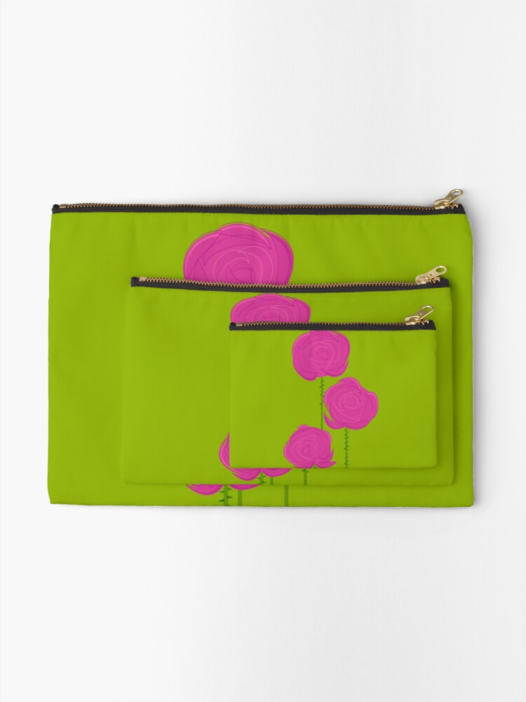 Alternate view of Pink Roses Zipper Pouch