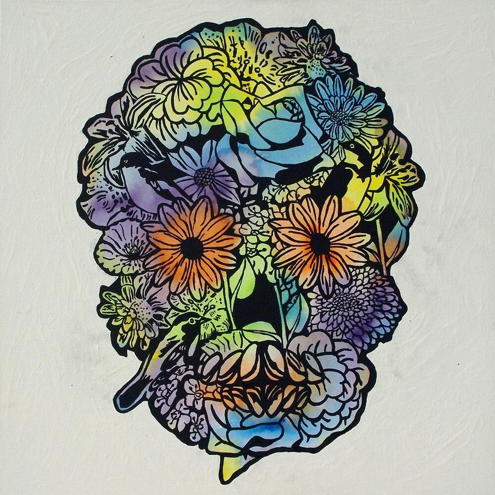Flower Skull 1 by Gavin Dobbs