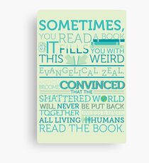 tfios - Sometimes you read a book... Canvas Print