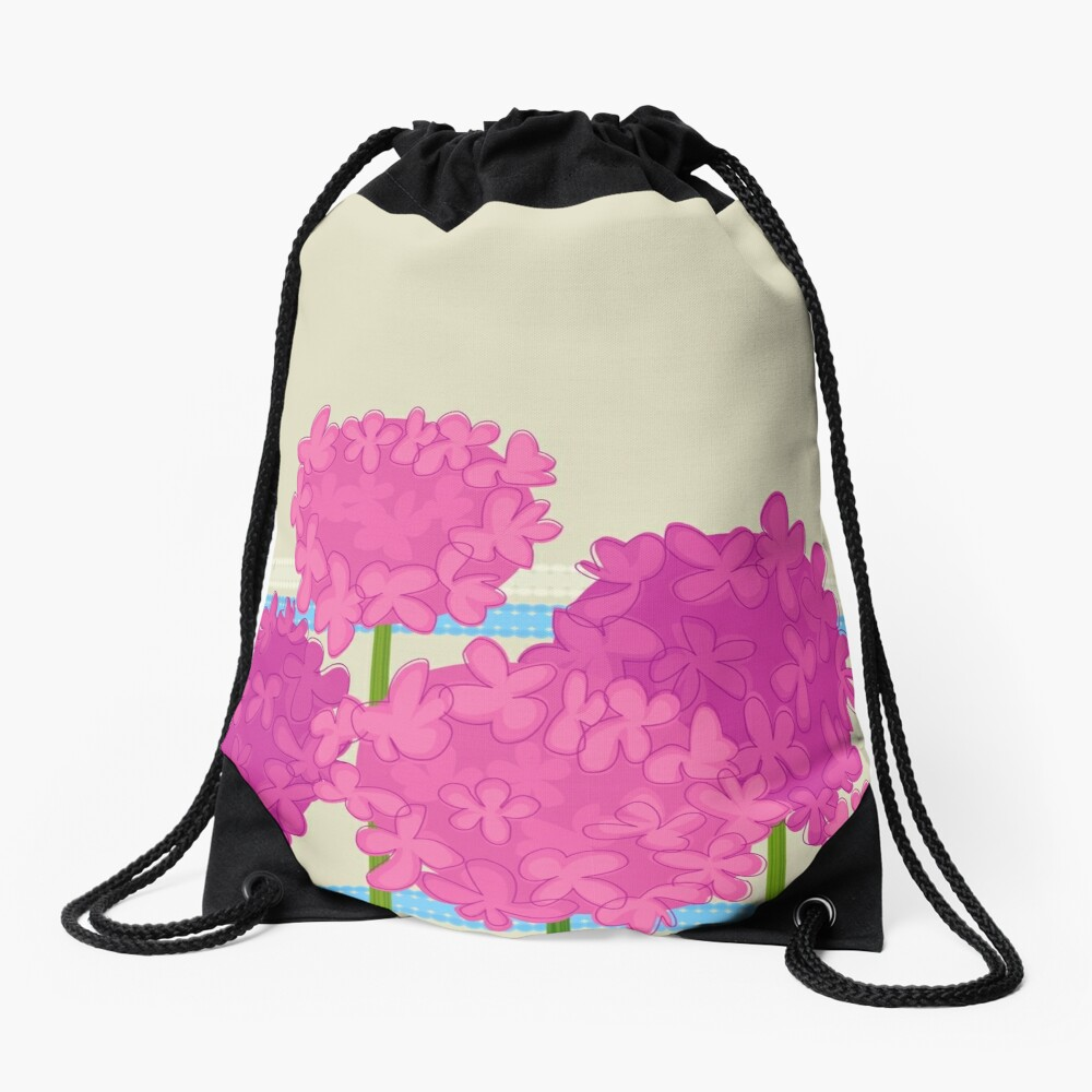 Pink Hydrangeas Drawstring Bag