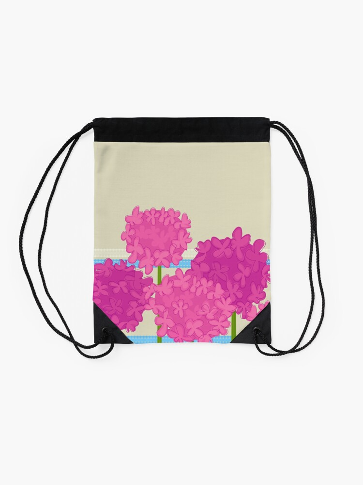 Alternate view of Pink Hydrangeas Drawstring Bag