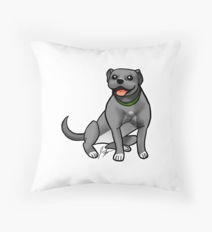 Pitbull - Gray Throw Pillow