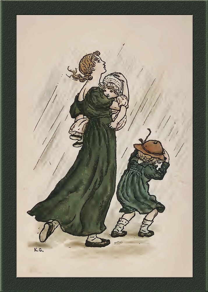 Greetings-Kate Greenaway-Mother and Children by Yesteryears