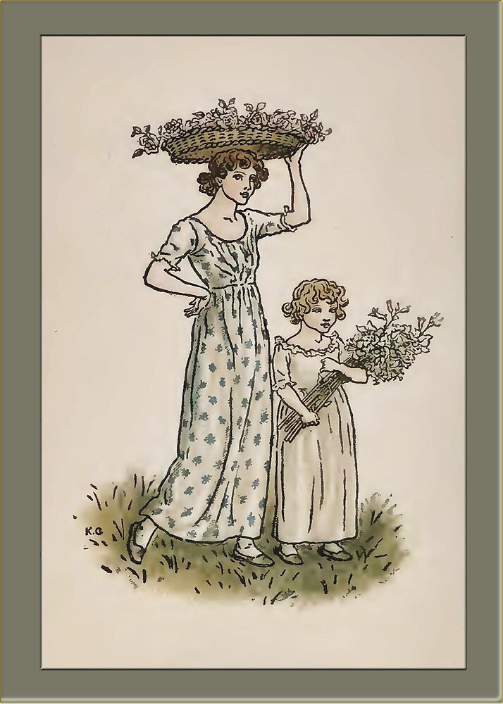 Greetings-Kate Greenaway-Mother/Daughter Collecting Blossoms by Yesteryears
