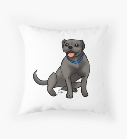 Pitbull - Black Throw Pillow