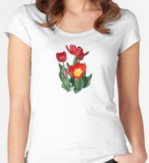 Bright Red Tulips Women's Fitted Scoop T-Shirt