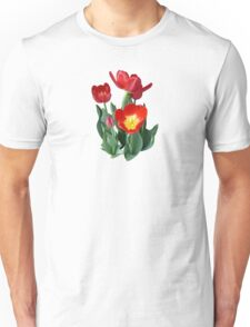 Bright Red Tulips Unisex T-Shirt