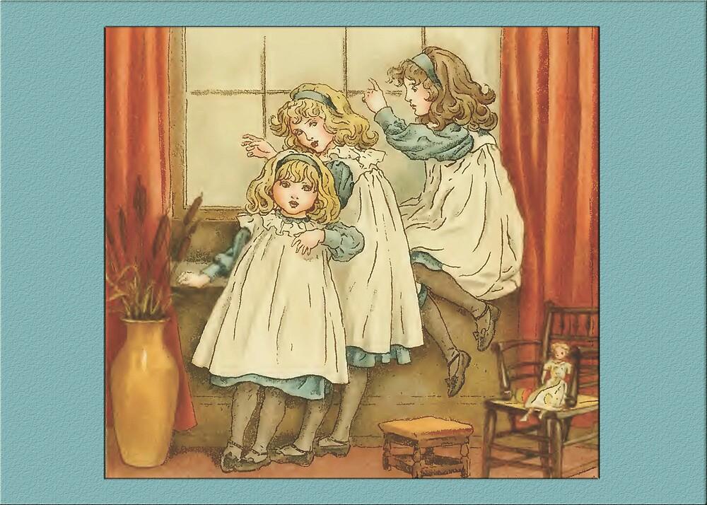 Greetings-Kate Greenaway-Three Sisters by Yesteryears