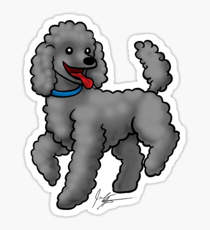 Poodle Black Sticker