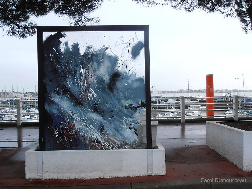 Art above the harbour on a rainy day by Carol Dumousseau