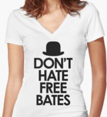 Don't Hate Free Bates Women's Fitted V-Neck T-Shirt