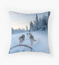 Husky Sledge, Lapland Throw Pillow