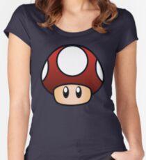 Super Mario Pilz Tailliertes Rundhals-Shirt