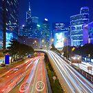 Busy traffic in Hong Kong at night by kawing921