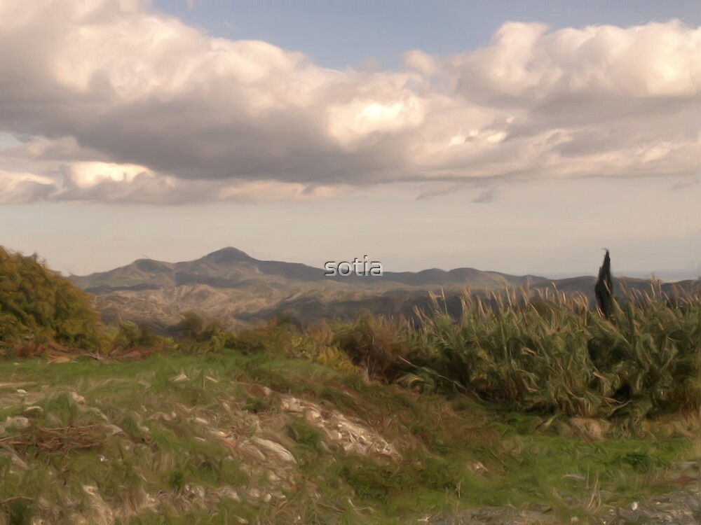 Lefkara Country Site & Clouds with oil brush by sotia