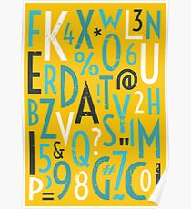 Retro Letters and Numbers Poster
