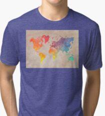 World Map maps Tri-blend T-Shirt