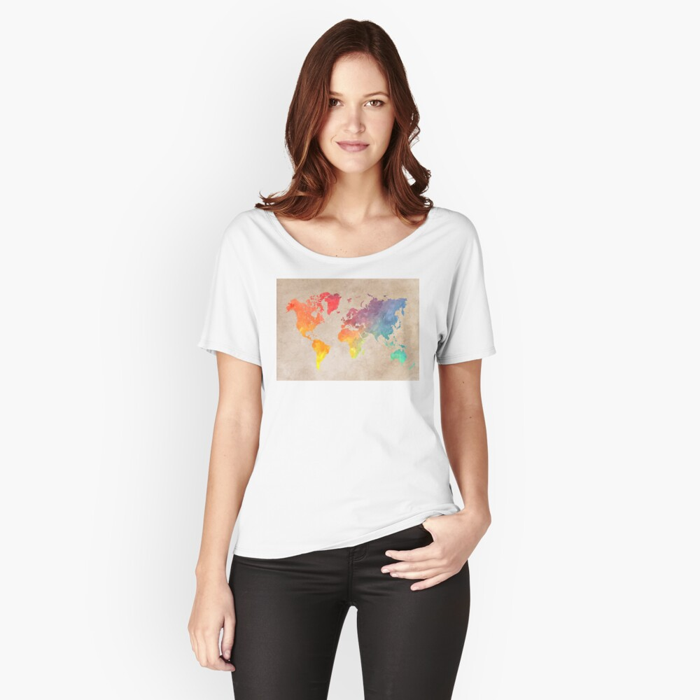 World Map maps Women's Relaxed Fit T-Shirt Front