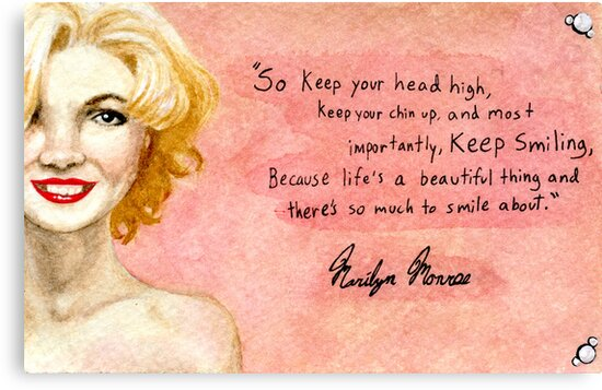 Marilyn Monroe Keep Smiling Quote Canvas Prints By Jujudraws