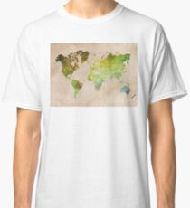 Green World Map ecology Classic T-Shirt