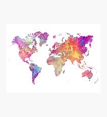 World Map Violet Photographic Print