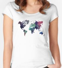 Map world art after Ice age Women's Fitted Scoop T-Shirt