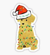 Cute Christmas Golden Retriever Puppy Sticker