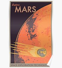 Explore Mars Travel Poster Poster