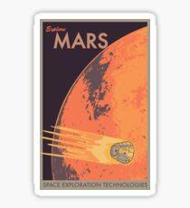 Explore Mars Travel Poster Sticker