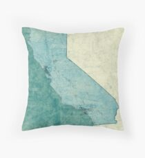 California Map Blue Vintage Throw Pillow