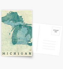 Michigan Karte blau Vintage Postkarten