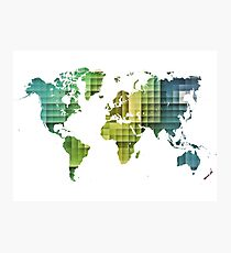 Map of the world green cube Photographic Print