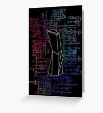 The Obelisk / The Diviner (Black and Multi-Coloured on Black) Greeting Card