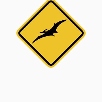 Beware of Pterodactyls Road Sign  by eZonkey