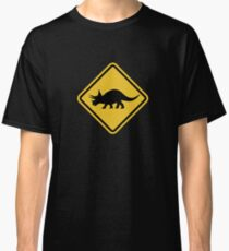 Beware of Triceratops Road Sign Classic T-Shirt