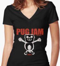 PUG JAM Women's Fitted V-Neck T-Shirt