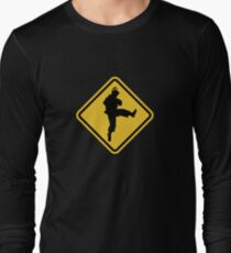 Beware of Ryu Hurricane Kick Road Sign - 8 bit Retro Style Long Sleeve T-Shirt