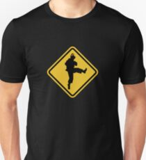 Beware of Ryu Hurricane Kick Road Sign - 8 bit Retro Style Unisex T-Shirt