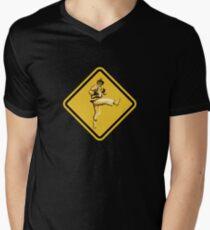 Beware of Ryu Hurricane Kick Road Sign - Second Version Mens V-Neck T-Shirt