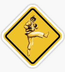 Beware of Ryu Hurricane Kick Road Sign - Second Version Sticker