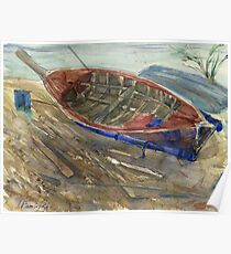 Old shabby boat on sand Poster