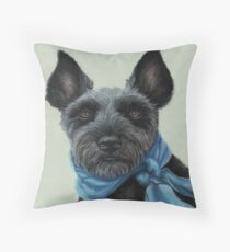 Miniature Schnauzer with a blue scarf Throw Pillow