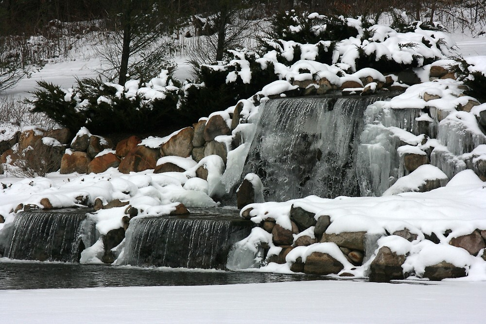 winter waterfall side view by wolf6249107