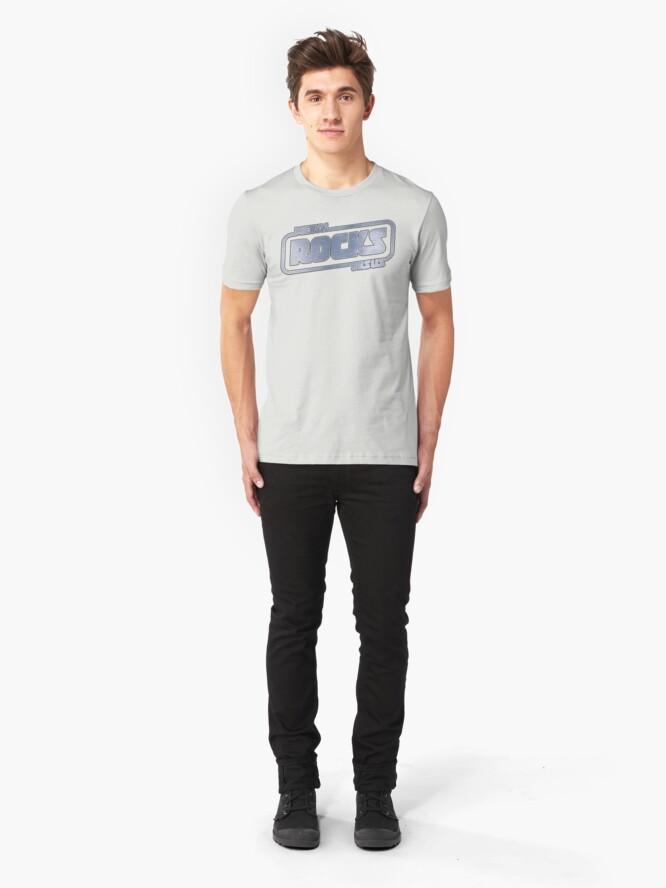 Alternate view of Metal Jesus Rocks - METAL LOGO Slim Fit T-Shirt