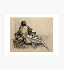 Male Nude, charcoal and pastel drawing Art Print