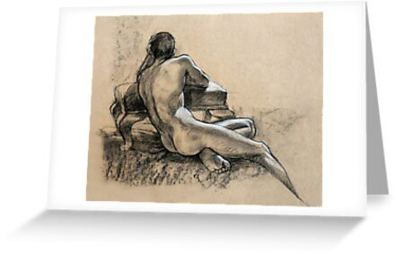 Male Nude, charcoal and pastel drawing by Roz McQuillan