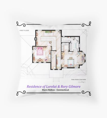 House of Lorelai & Rory Gilmore - First Floor Throw Pillow
