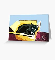 ACEO Abstract Black Cat 7 Greeting Card